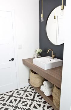 Small Bathroom Ideas Optimize the Space of Your Home Whether you drive of a soothing bath past spa-like paint colors or a bold bath considering a exciting color scheme, our gallery of bathroom color is clear to inspire. Downstairs Bathroom, Bathroom Renos, Bathroom Interior, Bathroom Ideas, Mirror Bathroom, Bathroom Small, Bathroom Accent Wall, Bath Ideas, Bathroom Feature Wall