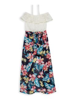 Elastic Straps /& Back: Blue//Floral Mudd: Girl Maxi Dress 4 Lined Front Bodice