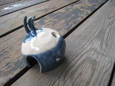 Small Aquarium Cave  Blue and White Ceramics  Betta by WhiteCitrus