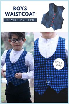Boys Waistcoat sewing pattern (6mths to 12yrs). Whether it is for a formal occasion or just a cool casual look, this waistcoat sewing pattern is a cut above the rest. Most importantly the Brooklyn waistcoat pdf pattern will fit your boy like a glove. It is the perfect combination with a cool shirt. To complete this awesome project you'll need to be an adventurous beginner / intermediate sewer. It's great for learning or practicing new techniques including Kam-snaps and buckles. Boys Sewing Patterns, Sewing For Kids, Baby Sewing, Boys Waistcoat, Kam Snaps, Sewing Courses, Kids Tops, Party Tops, Modern Kids