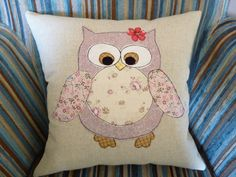 Owl applique cushion