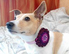 Dog collar flowerDog collarBrown Purple dog collar by AirinFlowers #DogAcccessory #PetAccessory #DogClothes #kanzashi #PetSupplies #CollarFlower
