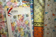 """DeGrazia Watercolors"" exhibit end July 31st. Fuller Fabrics DeGrazia print fabric samples c.1952-1956."