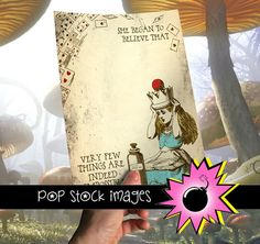"""Alice in Wonderland Printable Digital Paper - $2.00    My Alice in Wonderland scrapbook paper designs wouldn't be complete without Alice herself!    The design features an antiqued page background, with flying playing cards, a crowned Alice, and a bottle marked """"drink me."""" A stylized font reads, """"She began to believe that very few things are indeed impossible."""""""