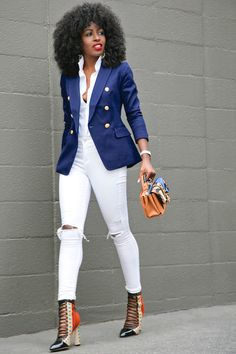 Style Pantry | Navy Blazer + Short Sleeve Button Down + Ripped Jeans