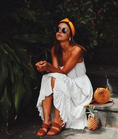 $10 - $50 Cool Bright Yellow Orange Headband Head Scard White Lace Beach Cover Up Midi Dress Brown Suede Strappy Flat Sandals And Round Beige Woven Basket Bag Summer Holiday Outfit Tumblr
