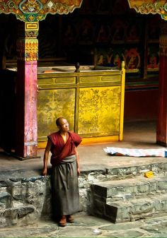 Tibet - Monastère bouddhiste tibétain.