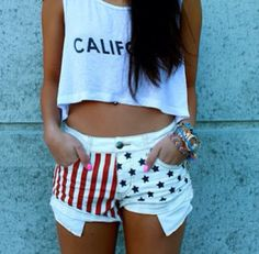 American flag shorts crop top perfect 4th of July cloths