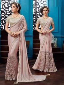 Pink Color New Heavy Embroidered Sari Women Girl Bridal Saree Ghagra
