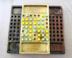 Solid Wood 4 Thought Game with marbles by marblemaam on Etsy