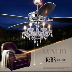 Crystal Lamp Fan Living Room Ceiling Fan Light Restaurant With European  Antique Retro LED Crystal Ceiling