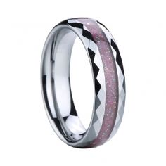 Pink Carbon Fiber Inlaid Tungsten Ring with Faceted Edges