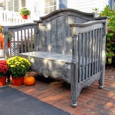 DIY: How to Build a Bench From a Crib - this post shows how a repurposed crib was made over + paint colors and the steps taken to get this awesome paint finish!!! Via Painted Therapy