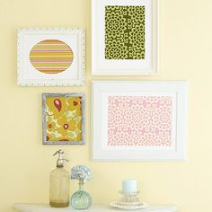 Framed Fabric Display - so cute! Imagine them with a letter in the middle to add a personal touch! :)
