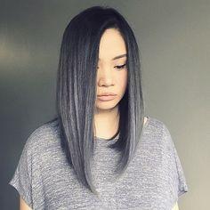 Long black to grey ombré