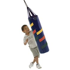 Introducing the first boxing bag play set accessory by Swing-N-Slide.  This accessory provides a fun way to get kids moving and is the perfect addition to any play set.  Made from plastic coated textile with strong nylon straps, just add fill material for instant fun.    http://www.swing-n-slide.com/354-Boxing-Bag.aspx