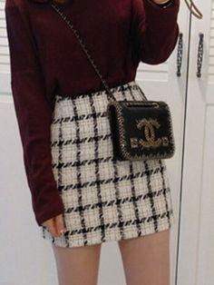 Shop Black Plaid Pencil Mini Skirt from choies.com .Free shipping Worldwide.$15.99