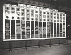 The country trains arrivals indicator board at Central Railway Station,the Country Terminals in the 1930s. •State Records of NSW•