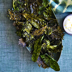 Crispy Kale with Lemon-Yogurt Dip | Chef Seamus Mullen roasts kale with extra-virgin olive oil and garlic until it's crunchy.