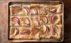 Maple-Pear Sheet Tart! The foundation of this sheet tart is puff pastry. Use any fruit. Fast, easy.  Can make it a savoury dish too.