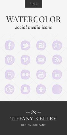 Watercolor Social Media Icons - Shop - Tiffany Kelley Design - Branding