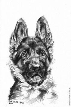 Купить Фрося Бурлакова (Офра)(продана) - черный, белый, щенок, собака, Немецкая овчарка, акварель, бумага