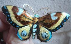 LARGE Norwegian Silver Enamel Butterfly Brooch - David Andersen Norway