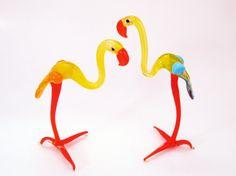 Blown Glass Flamingo Figurine Homedecor Sculpture Lampwork Murano Glass Birds Unique Gifts artwork Artglass Collectible Handblown Miniature