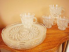 8 piece Wexford Snack Set, Anchor Hocking, 4 Plates 4 Cups Clear Crystal