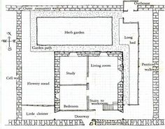 Sketch of the layout of a cell at Mount Grace Garden Beds, Garden Paths, Cell Wall, Doorway, Booklet, Medieval, House Plans, Floor Plans, Layout