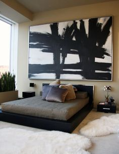 Love this huge painting over the bed | Kevin Sharkey residence