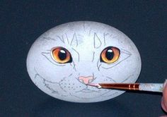 Painting a cat face on a rock