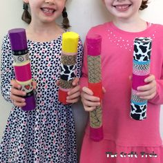 If you've followed our blog for a while (it would have to have been a long while!) you might remember that we made some simple toilet roll shakers when my girls were both in pre school. Now they are at big school, and we've made some cardboard tube shakers with longer paper towel rolls using the same basic technique. It just goes to show how musical crafts suit kids of all ages because they