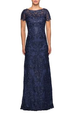 online shopping for La Femme Sequin Embroidered Column Dress from top store. See new offer for La Femme Sequin Embroidered Column Dress