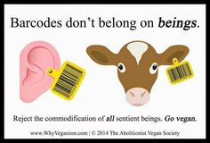 Barcodes don't belong on beings.  Reject the commodification of all sentient beings.  Go vegan.
