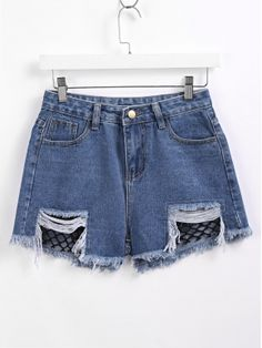 Dark blue Contrast Fishnet Raw Hem Denim Shorts