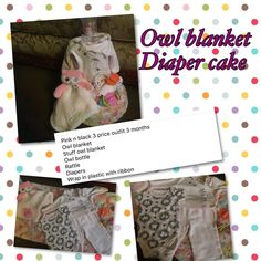 Owl blanket diaper cake Wrap in plastic with ribbon Other