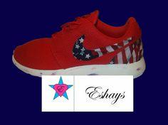American Flag Print Marble Sole Red Nike Roshe Runs - Eshays, LLC   Eshays, LLC