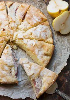 French pear cake with crème fraîche This French pear cake . - French pear cake with crème fraîche This French pear cake is light and full of pears with a crisp - Just Desserts, Delicious Desserts, Yummy Food, French Desserts, French Recipes, Desserts With Pears, Recipes With Pears, Desserts With Biscuits, Light Desserts