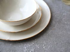 White porcelain with gold trim. Handmade in Israel.