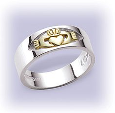 14 Kt. Gold And Silver Claddagh Ring  shopirish.com $160