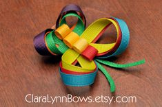 The Very Hungry Caterpillar Inspired Butterfly Ribbon Sculpture Hair Bow Clip - New Original Design by Clara Lynn Bows (Eric Carle)