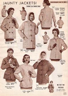 History of 1950s Coats and Jackets: 1957 Winter Rain Jackets