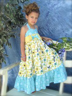 Girls+Maxi+Dress+Hummingbird+size+1t+2t+3t+4t+5t+6+by+Cordealinge,+$60.00