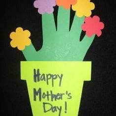 This cute HAND PRINT Flower Pots... easy craft activity for preschool aged children or older kids using created ideas Second layer > to the flower pot could be added to make a Mother's Day Card. Nice ! by jen.wic.56