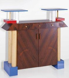 By Ettore Sottsass, 1985,  Collection Bonardi Mobile Istar in rosewood  lacquered wood and laminate, Gallery Rocca, Italy.