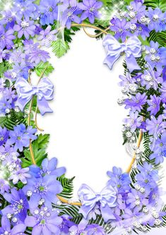 Cute Purple Flowers PNG Photo Frame