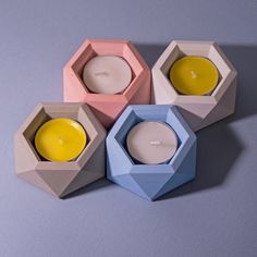 Geometric Concrete Candle Holder / Hexagon by Concrete Pots, Concrete Crafts, Concrete Projects, Cement Design, Cement Art, Concrete Candle Holders, Tealight Candle Holders, Candleholders, Pottery Painting Designs