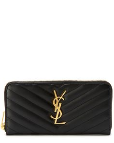 "Saint Laurent ""Cassandre"" Matelasse Zip-Around Leather Wallet is on Rue. Shop it now."