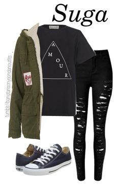 Watching fireworks - Hyung line 3 by bangtanoutfits on Polyvore featuring polyvore fashion style Être Cécile Topshop Converse clothing kpop bts BangtanBoys Suga